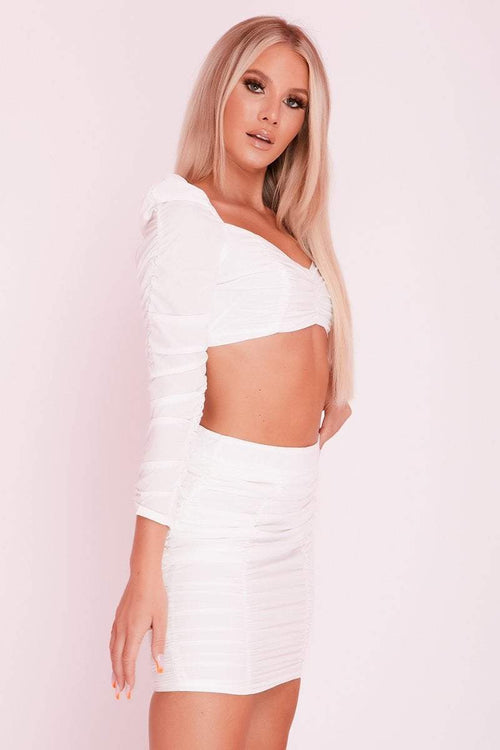 White Square Puff Sleeve Ruched Front Co-ord- Brielle - KATCH ME