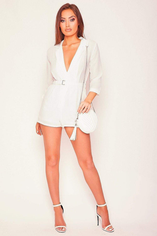 White Suit Style Belted Playsuit - KATCH ME