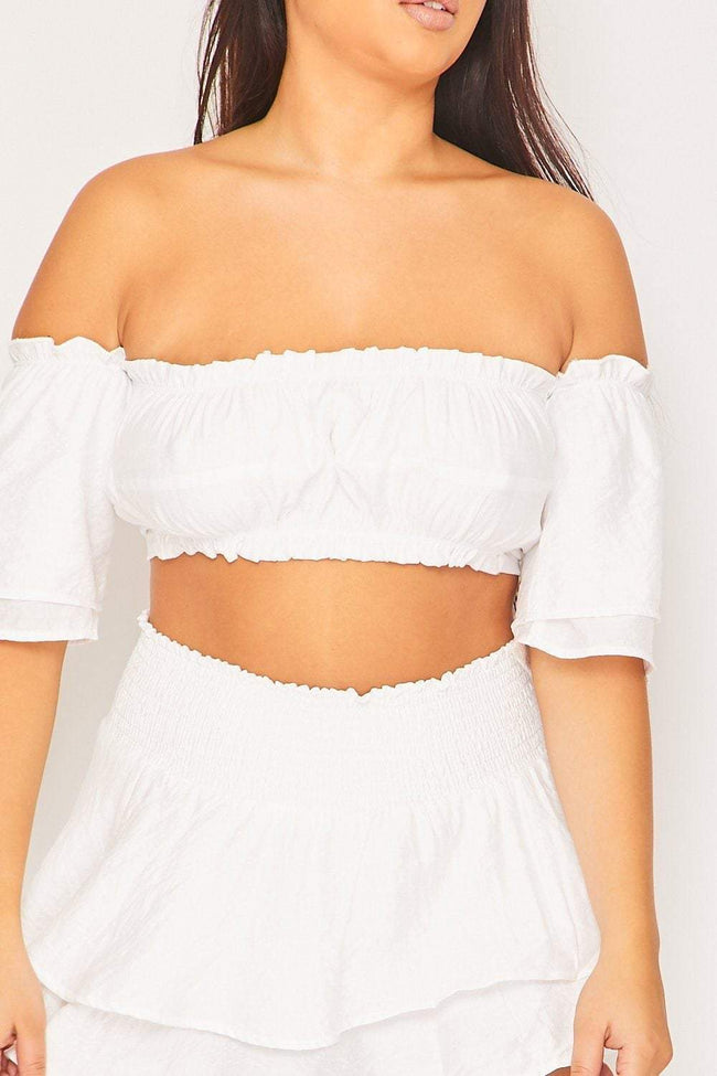 White Tie-Back Bardot Crop Top - KATCH ME