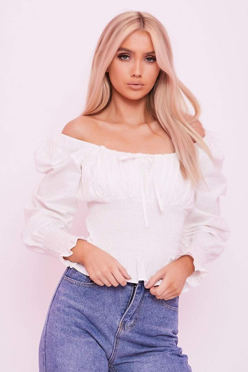 White Tie Front Puff Sleeve Top- Iris - KATCH ME