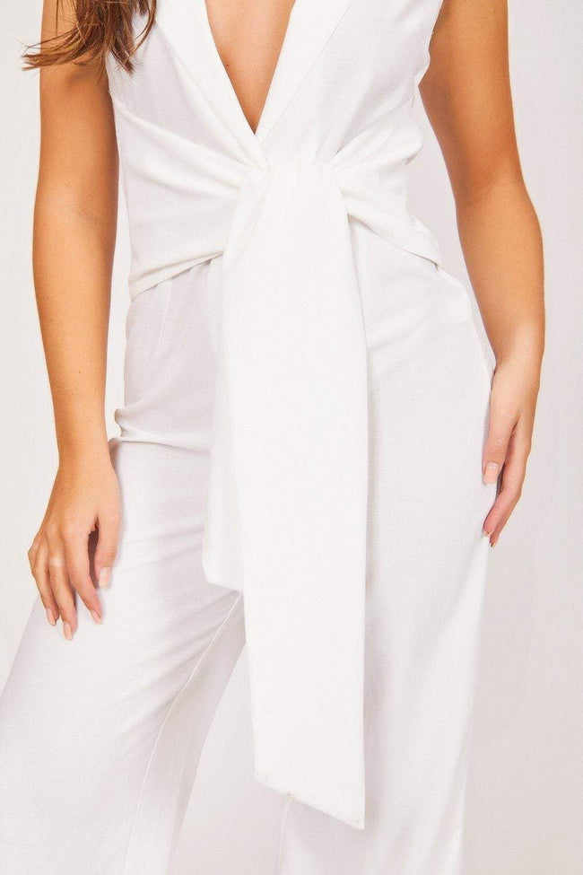 White Tie Front Sleeveless Jumpsuit - KATCH ME