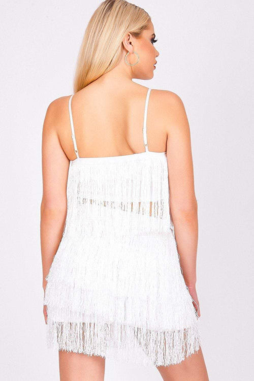 White Waterfall Fringe Crop Top - KATCH ME