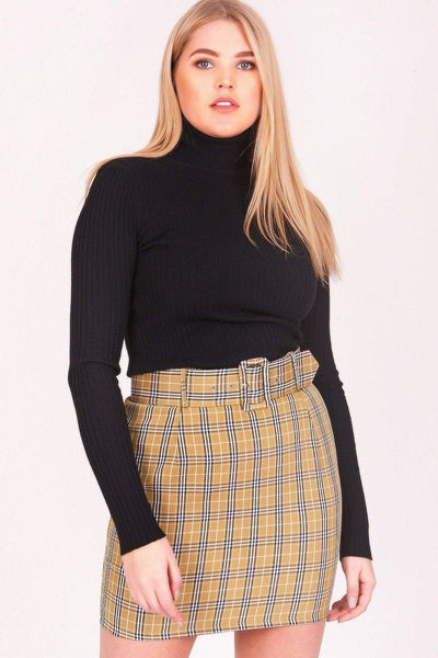 Yellow Belted Plaid Mini Skirt - KATCH ME