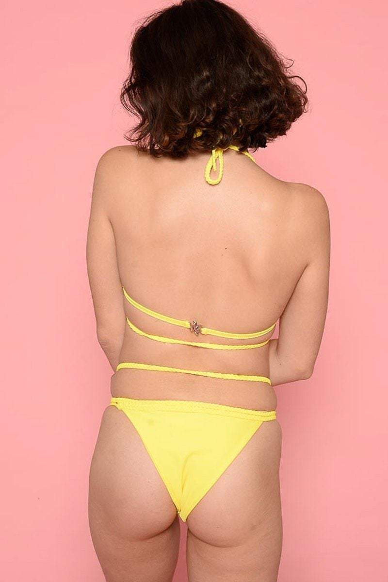Yellow Cross-Over Strappy Bikini - KATCH ME