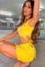 Yellow Cut Out Tie Side Dress - KATCH ME