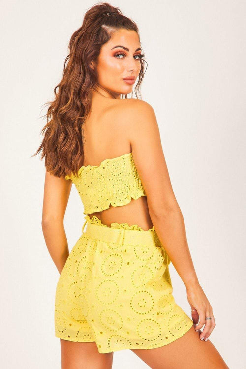 Yellow Eyelet Bandeau Top - KATCH ME
