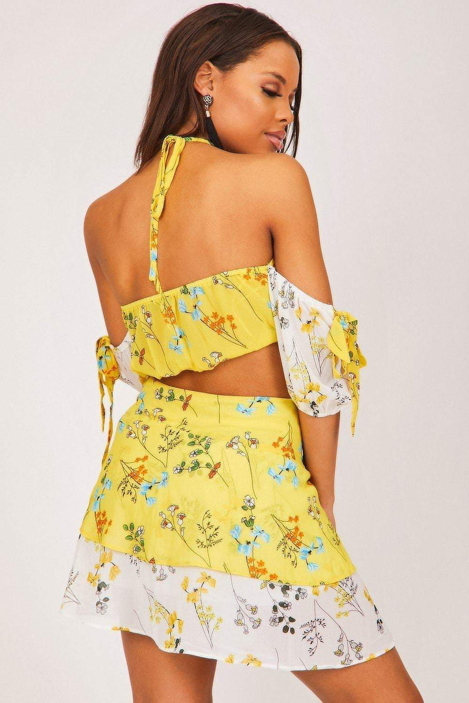 Yellow Floral Tie Front Skirt - KATCH ME