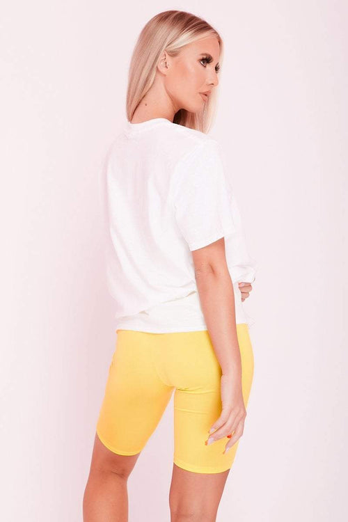 Yellow High Waist Slinky Cycling Shorts- Sadie - KATCH ME