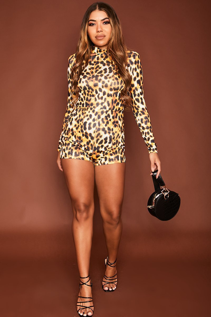 Yellow Leopard Print Playsuit - Dara - KATCH ME
