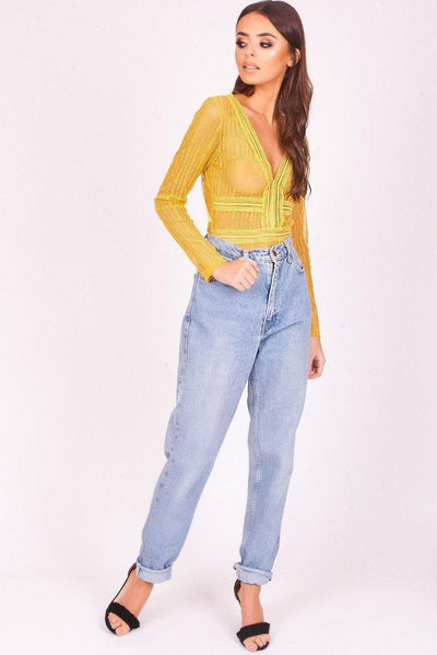 Yellow Long Sleeved Sheer Bodysuit - KATCH ME
