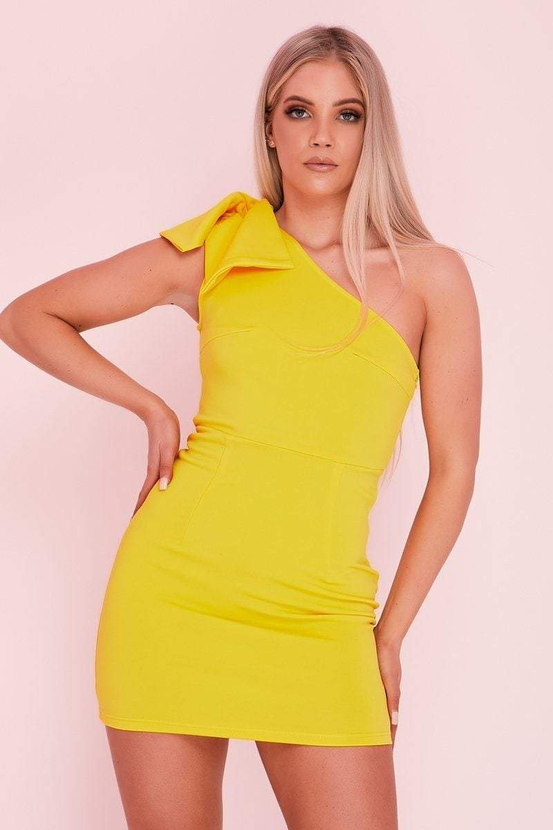 Yellow One Shoulder Bow Dress - KATCH ME