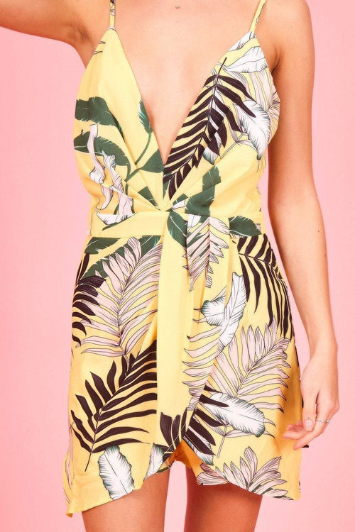 Yellow Plunge Leaf Print Playsuit - KATCH ME