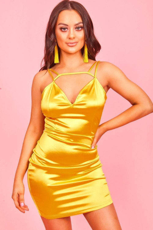 Yellow Satin Mini Dress - KATCH ME