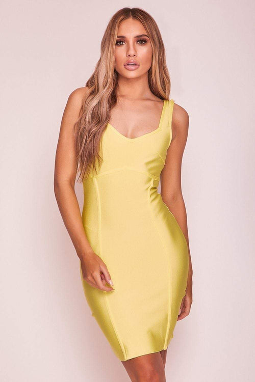 Yellow Structured Bandage Mini Dress - KATCH ME