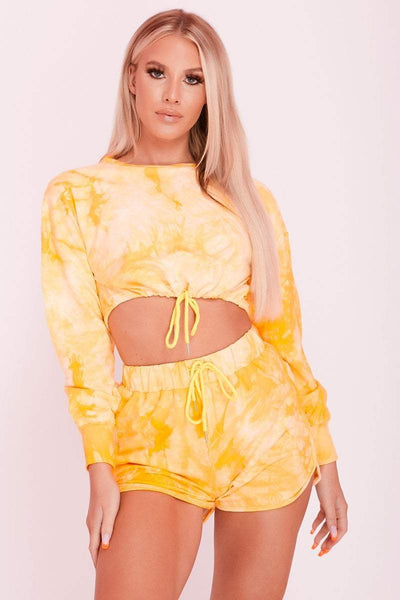 Yellow Tie Dye Jersey Sweat Shorts & Crop Top Co-ord- Ariana - KATCH ME