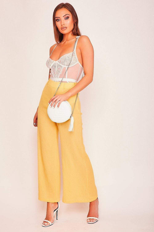 Yellow Wide Leg Culotte Trousers - KATCH ME