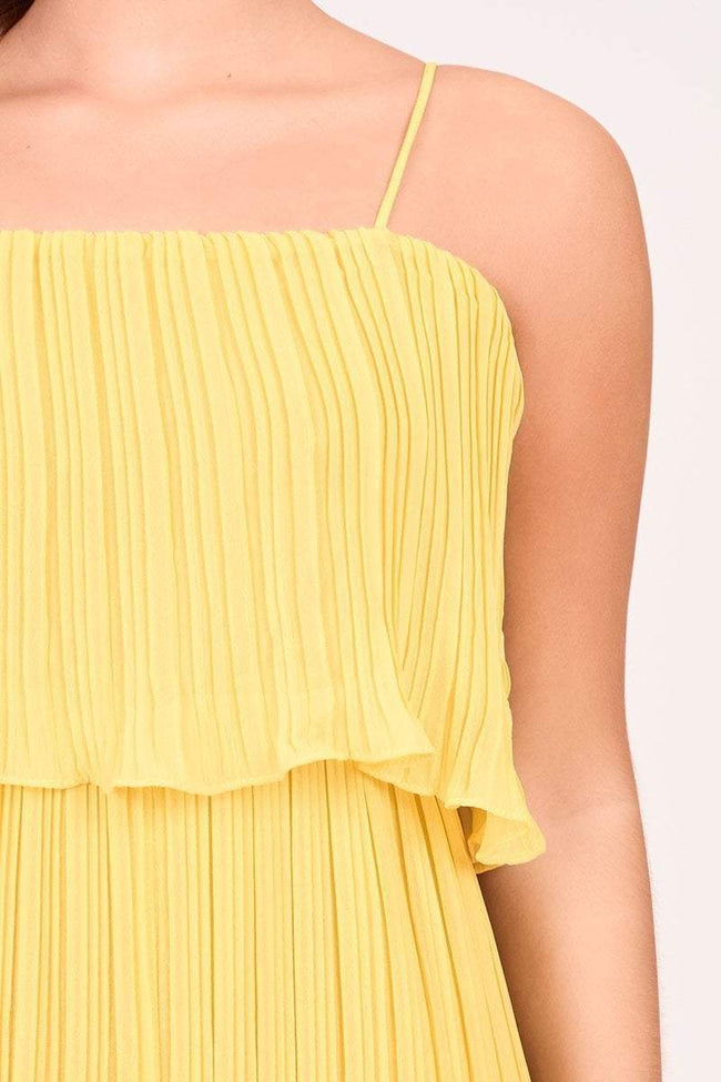 Yellow Wide Leg Sheer Crepe Jumpsuit - KATCH ME
