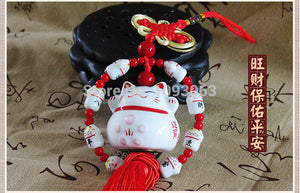 Lucky Cat Hanging Smiling Face Cute Safe Peace Ceramic Fortune Lovely Creative Automotive Decoration