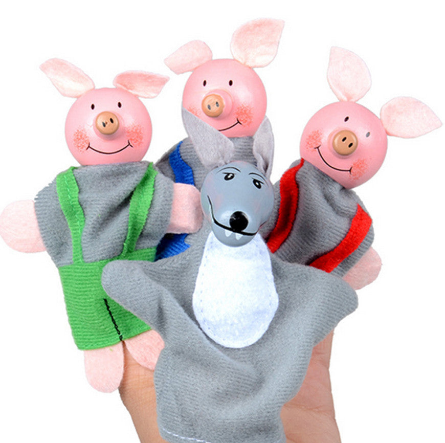 4PCS Three Little Pigs And Wolf Finger Puppets
