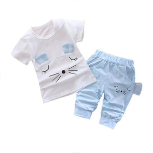 Baby Girls - Cute Cat Pattern Summer Tshirts+pants