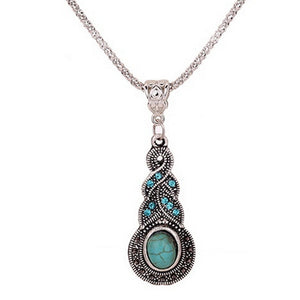 Unique Design Retro Turquoise Rhinestone Necklace