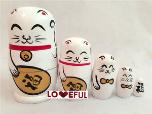 New Quality 5 Pieces Of  Lucky Cat Beautiful Wooden Russian Nesting Dolls for Kids'