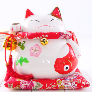Crafts Arts Home decoration Lucky Cat ornaments large Japanese ceramic piggy piggy bank opened May there be surpluses every year