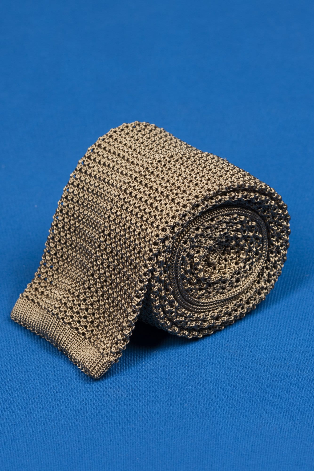 Taupe Knitted Tie - Grand Le Mar