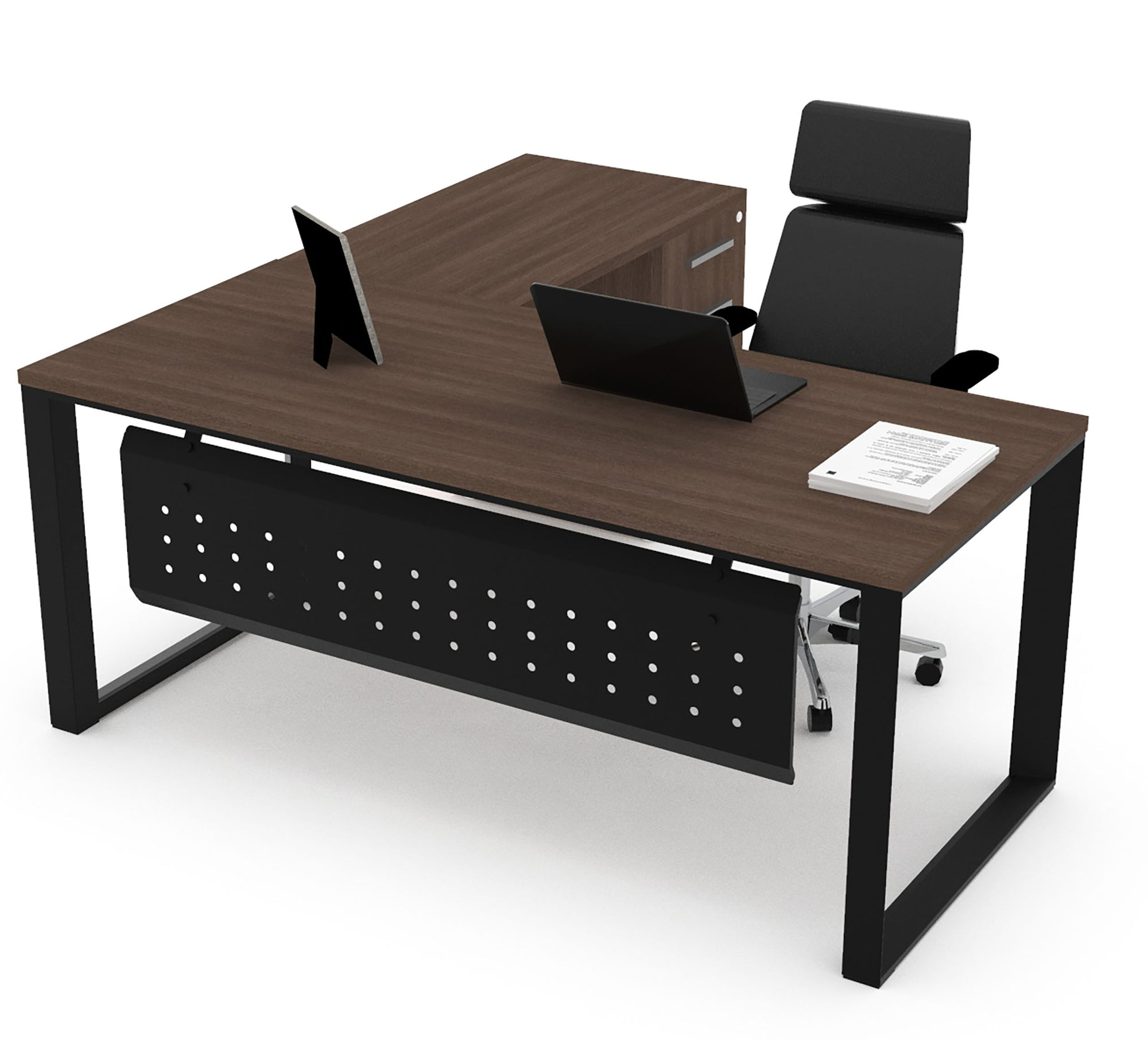 Escritorio Semi Ejecutivo SQ White/Silver/Black