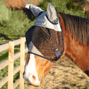 grey silver fly mask with ears