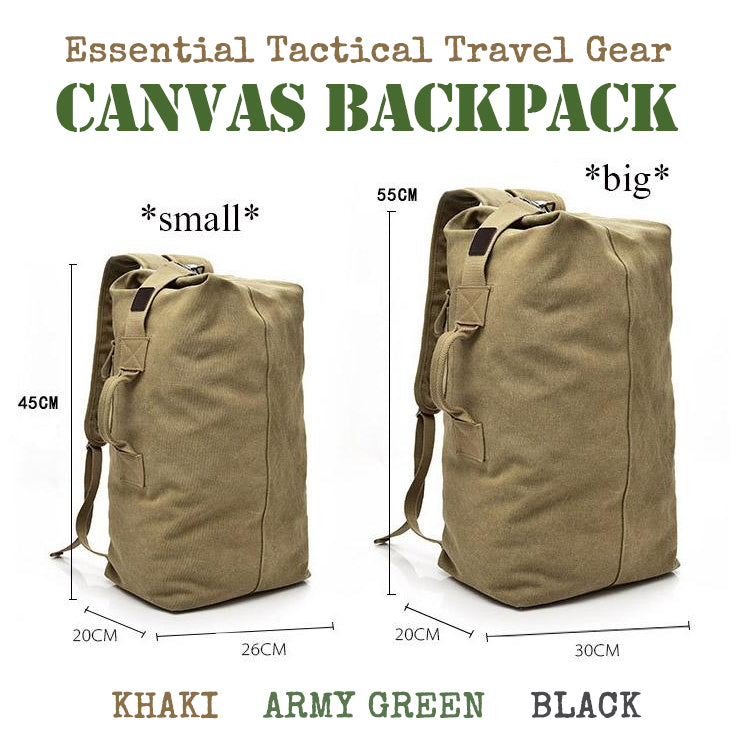 This Handy Tactical Canvas Backpack Is Highly Versatile And A Perfect Companion For Traveling, Hiking And Weekends Away