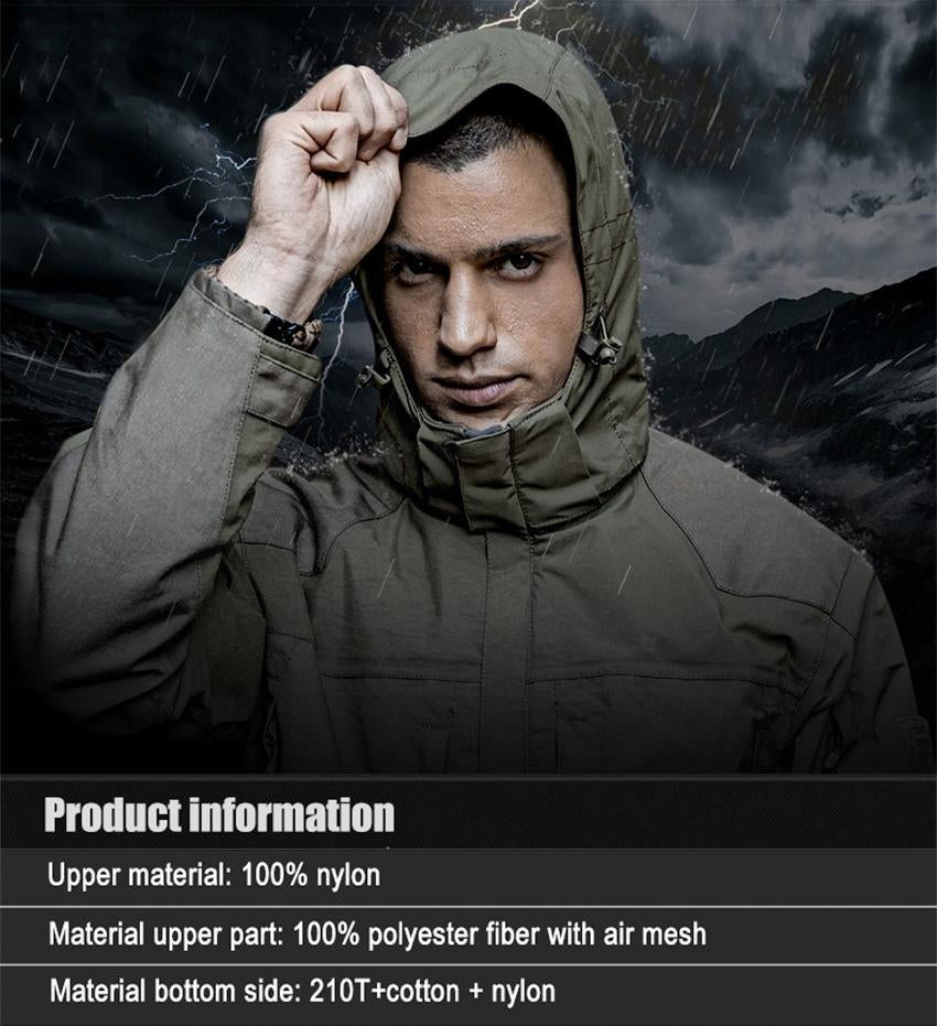 2-in-1 Waterproof Windproof Breathable Technical Tactical Jacket For Men