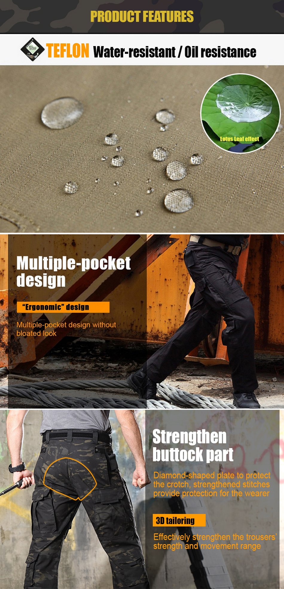 Tactical Cargo Pants Multi-Purpose All Season Military Camouflage Utility Combat Trousers For Men - Choose From 5 Colors