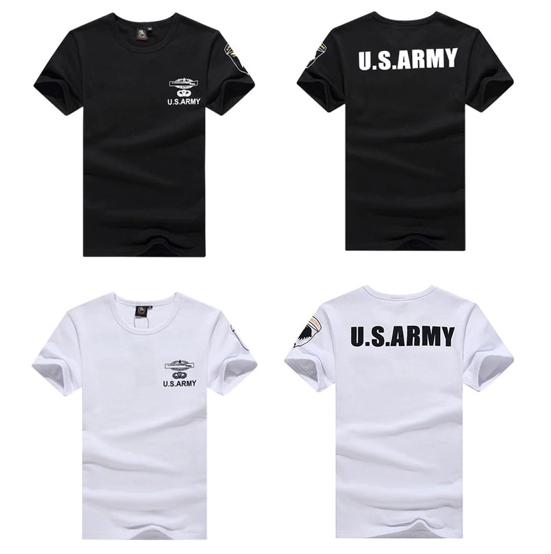 Army T Shirt US Military Style Clothing Solid Color Short Sleeve T-Shirt High Quality Stretch Fit Slim Fit Cotton Army T-shirt For Men - 4 Colors