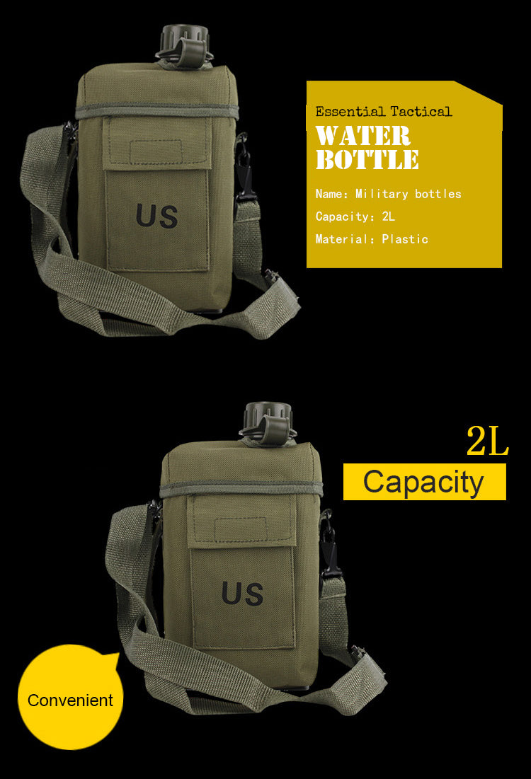 Army Water Bottle 2L Flask Heat Resistant US Military Water Canteen Tactical Hydration Pack Water Bottle & Case - 6 Colors
