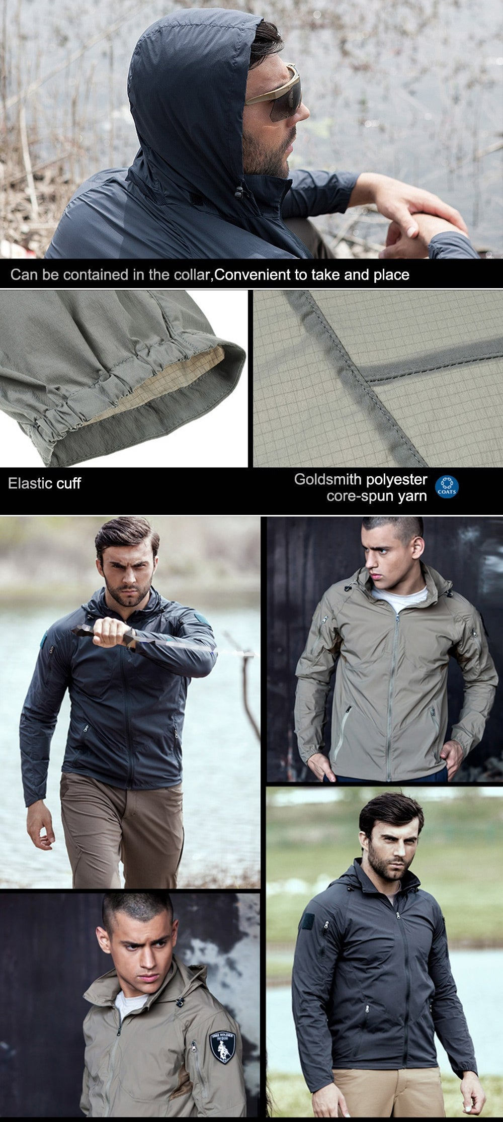 Breathable Hooded Lightweight Men's Tactical Skin Jacket