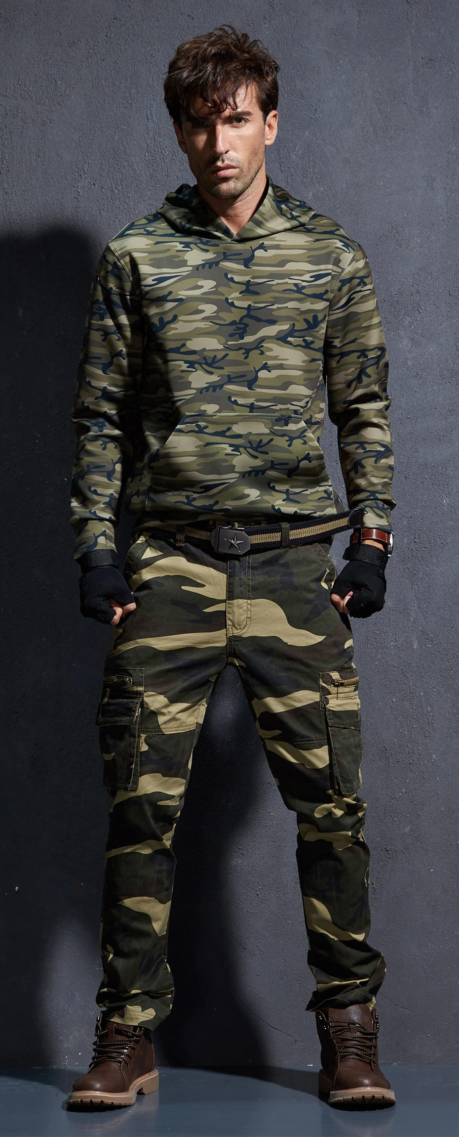 Camo Pants For Mens Military Style Tactical Cargo Pants Army Camouflage Straight Trousers Multi Pocket Camo Joggers - 2 Colors