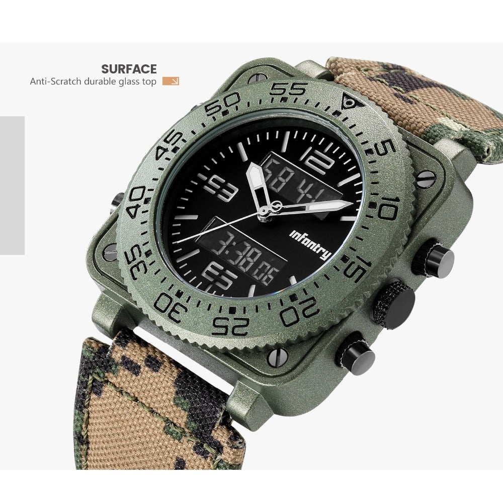 Infantry Military Tactical Dual Display Analog LED Digital Wristwatch For Men Rubber Strap Green Camo Big Square Oversized Display Military Watch