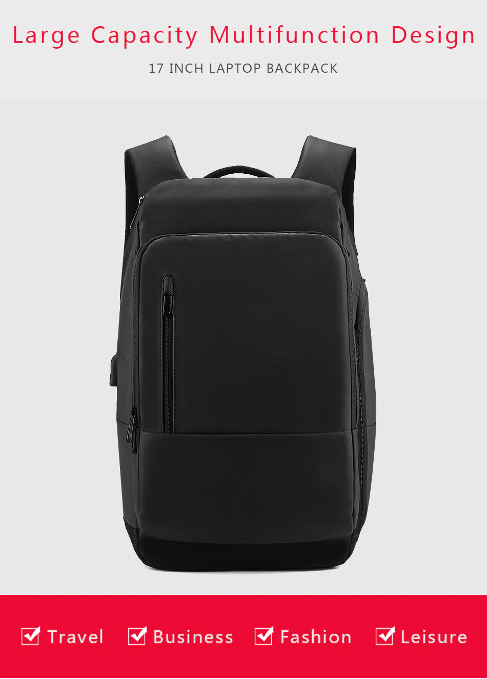Large Capacity Multi-Functional 17 inch Laptop Backpack For Men With USB Charging Port Multi-Layer Storage Business Tactical Backpack