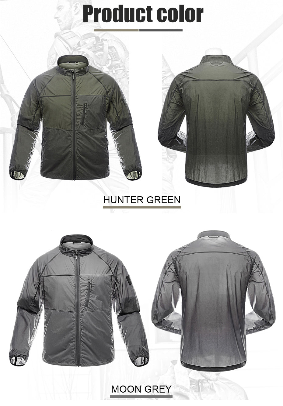 Men's Featherweight Lightshell Breathable Foldable Tactical Jacket - 2 Colors