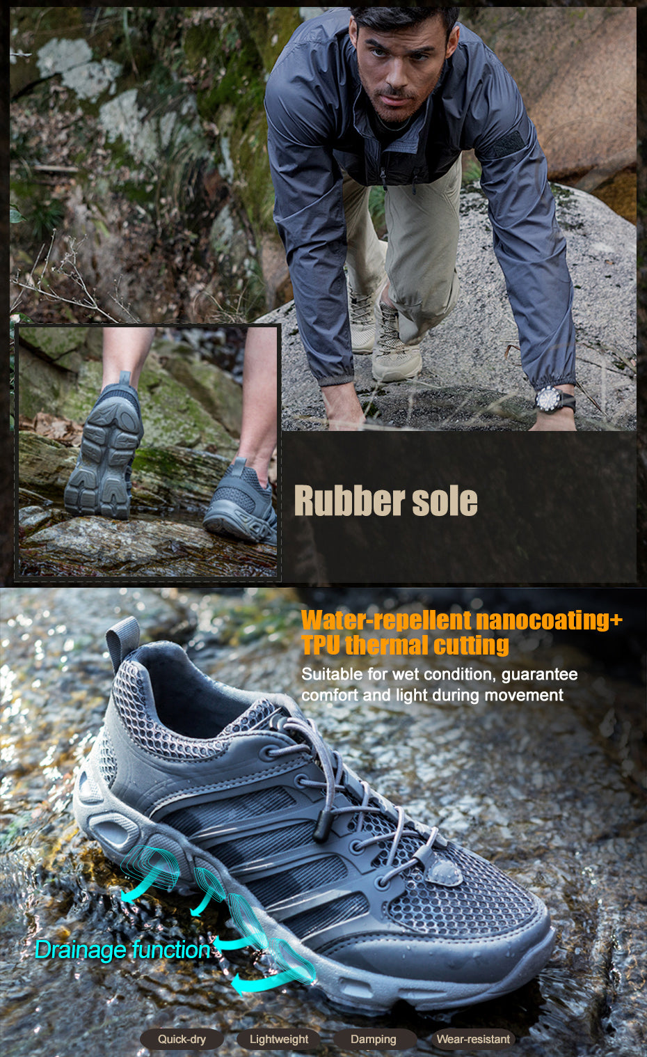 Lightweight Breathable Tactical Amphibian Shoes For Men For Warm Climate Wet Terrain