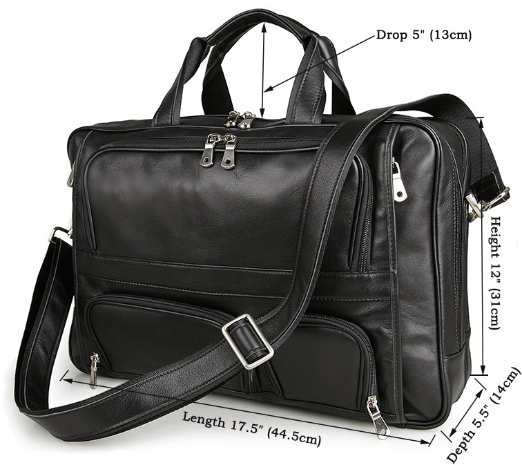 MI7 Tactical Classic Leather Black Men's Unique Design Attache Briefcase Laptop Executive Men's Business Bag