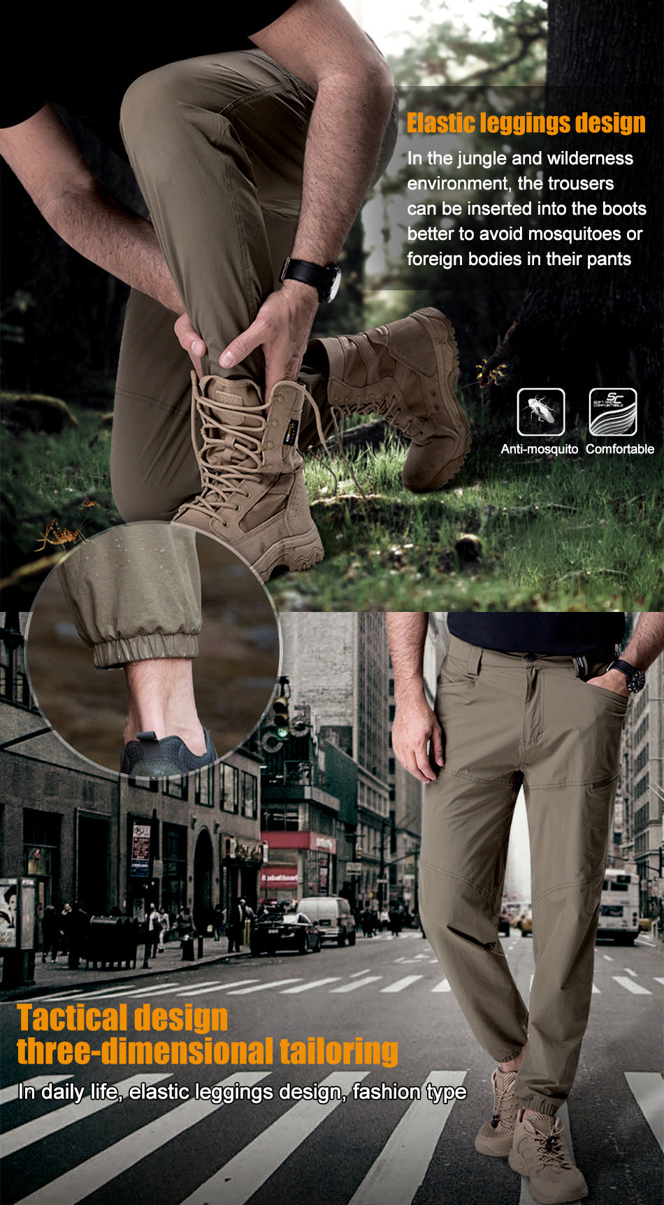 Men's All Purpose Tactical Pants Military Style Breathable Slim Fit Active Wear With Boot Fit Elastic Ankles