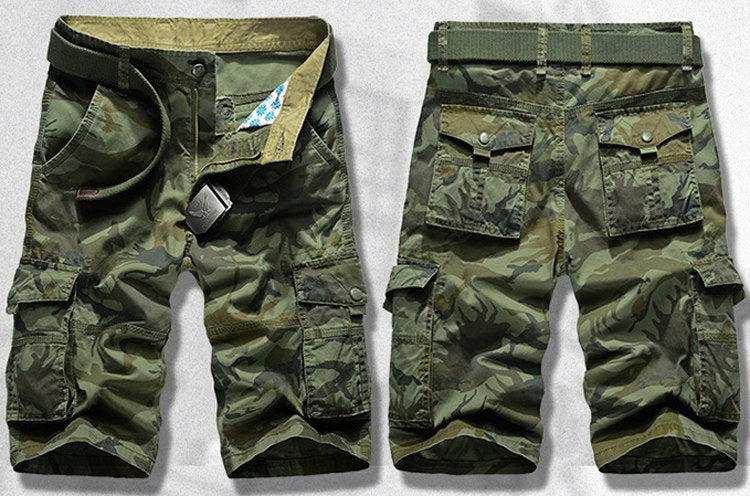 Men's Camo Shorts Breathable Cotton Multi-Pocket Cargo Pants Military Camouflage Beach Shorts For Men - 2 Colors