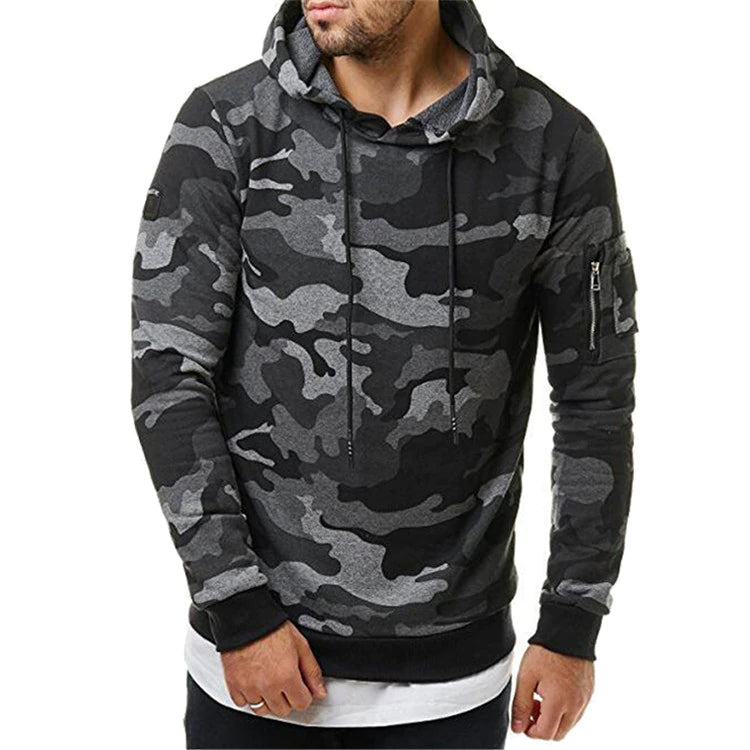 Men's Camouflage Hoodie Hooded Long Sleeve Sweatshirt Casual Tracksuit Pullover Tactical Outdoor Sportswear For Men - 2 Colors