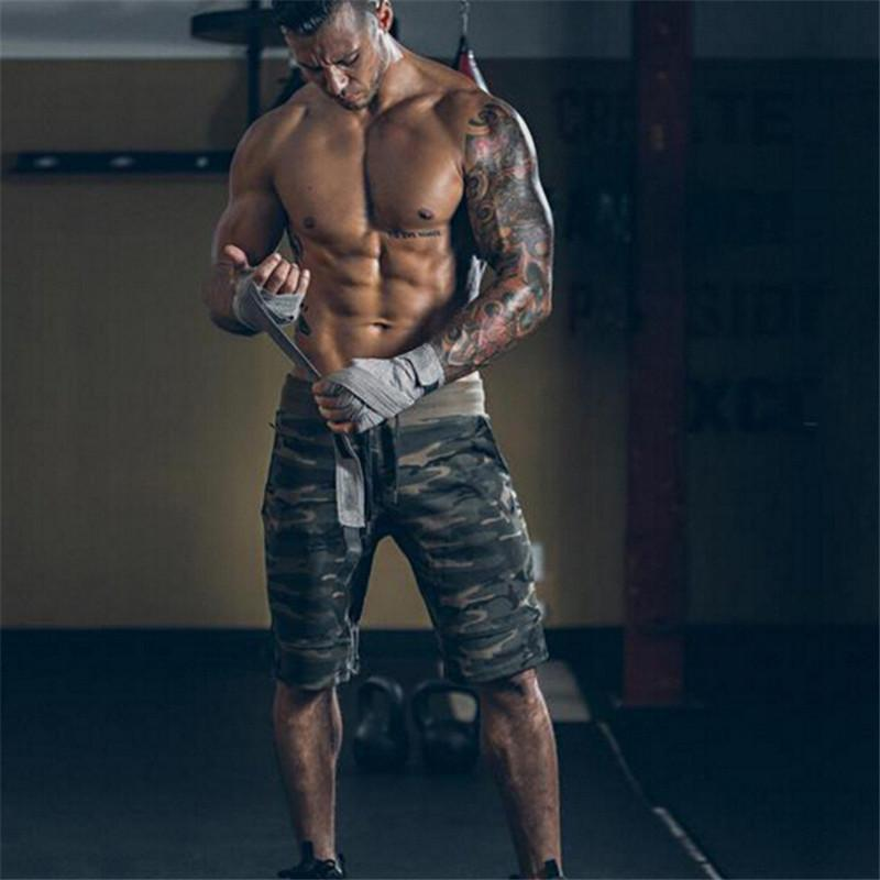 Men's Camouflage Shorts Trousers Casual Calf-Length Jogger Shorts Sweatpants Fitness Workout Cotton Camo Shorts For Men - 2 Colors