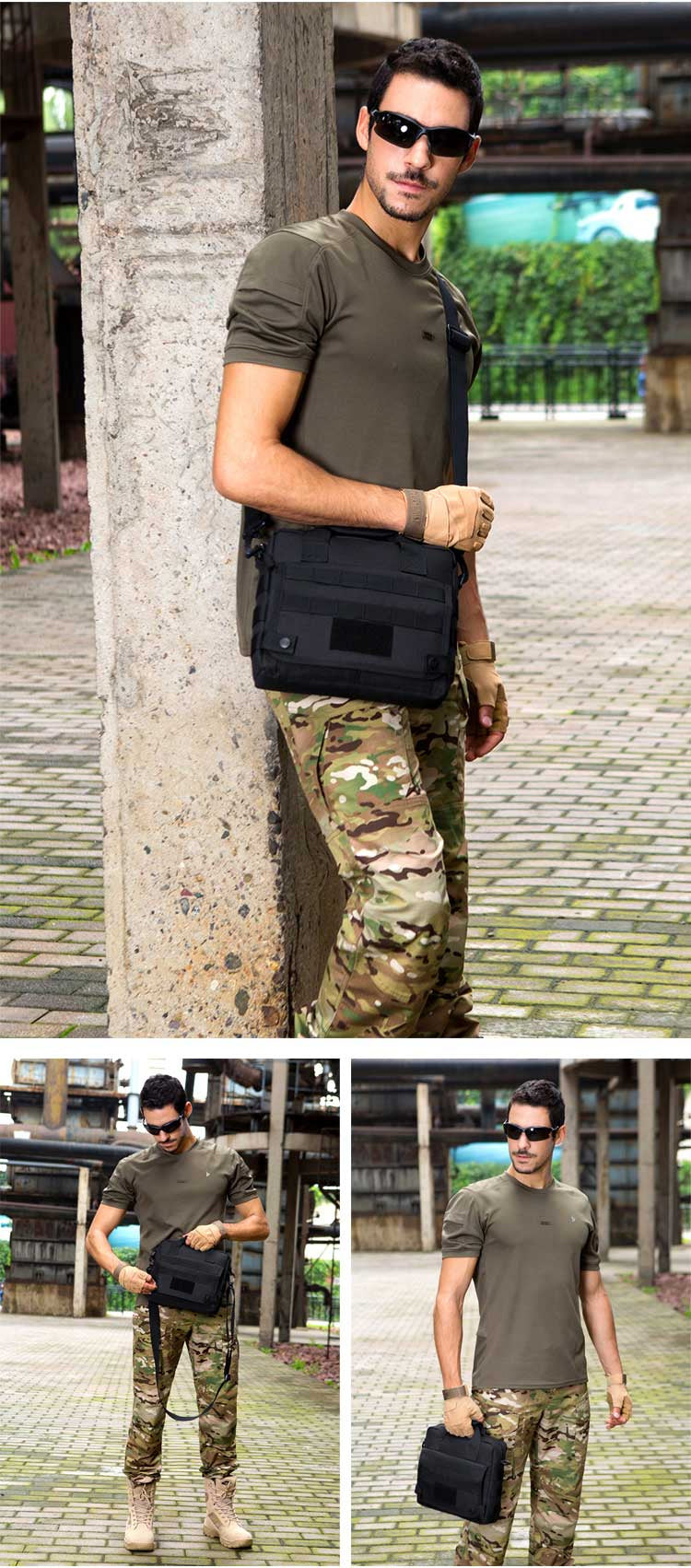 Tactical Messenger Bag Military Briefcase Nylon Waterproof Shoulder Bag - 5 Colors