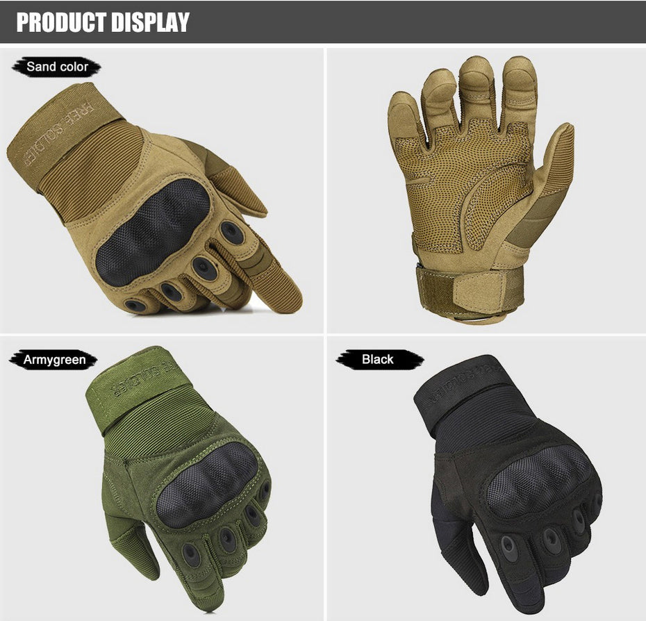 Men's Lightweight Tactical Armour Gloves With Knuckle-Guard And Adjustable Strap - 3 Colors