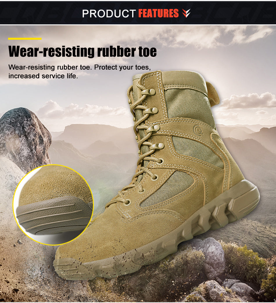 Men's Lightweight Tactical Combat Boots All Terrain Breathable Cordura And Leather Wear-Resistant Shoes Hiking Trekking Boots