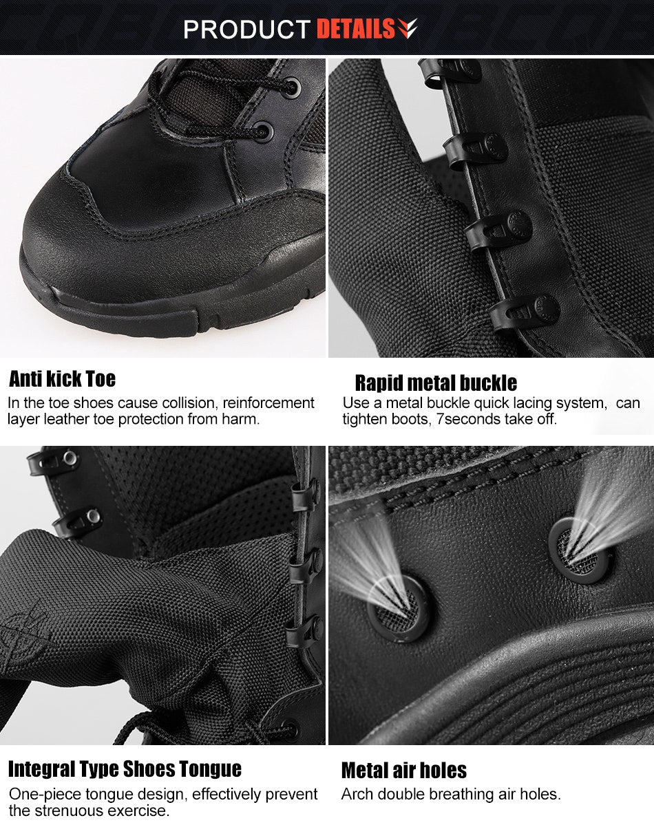 Men's Lightweight Tactical Combat Boots High Lace Breathable Wear-Resistant Military Boots - Black or Sand